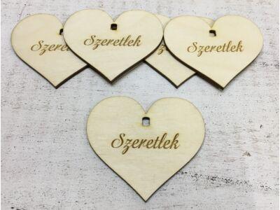 """Natúr fa - Szív """"Szeretlek"""" 7cm 5db/cs  (szív állványhoz)"""