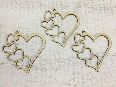 Natúr fa szív a szívben 3db/csomag