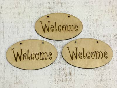 """Natúr fa - """"Welcome"""" ovál tábla"""