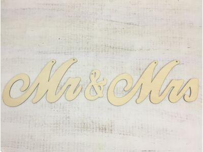 """Natúr fa - """"Mr & Mrs"""" írott felirat 65cm"""