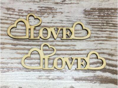 """Natúr fa - """"Love"""" felirat szívekkel 15cm"""