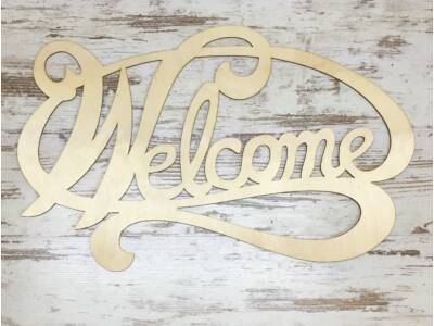 "Natúr fa - ""Welcome"" felirat ovál 74cm"
