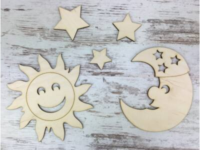 Natúr fa - Égitestek: nap, hold és 3db csillag