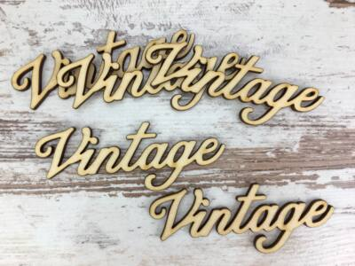 """Natúr fa - """"Vintage"""" felirat 10cm"""