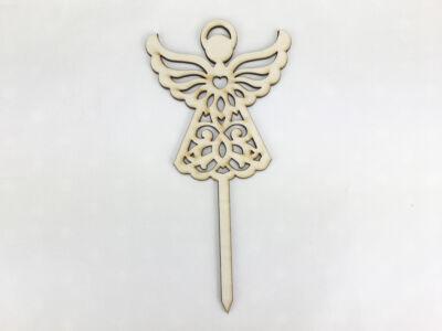 Natúr fa - Beszúrós csipkés angyal 18cm