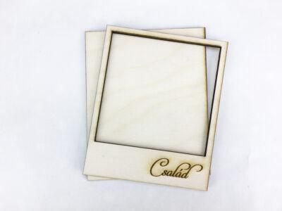 """Natúr fa - Polaroid fényképkeret """"Család"""" 9x11cm"""