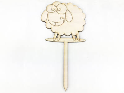 Natúr fa - Beszúrós kerge bárány 8cm