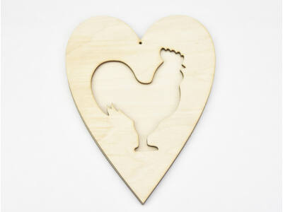 Natúr fa - Áttört szív kakas 20cm