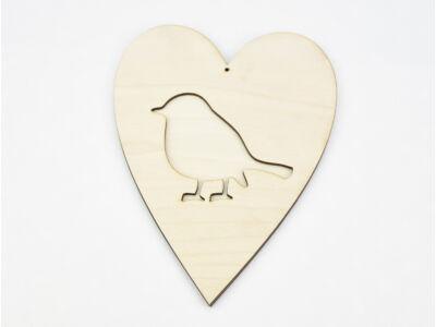 Natúr fa - Áttört szív madár 20cm