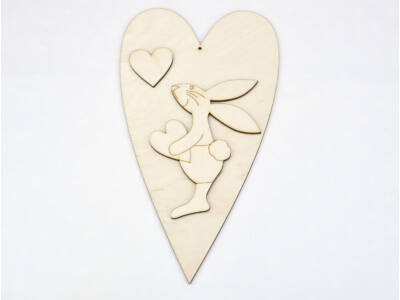 Natúr fa - Nyuszifiú + szív 25cm