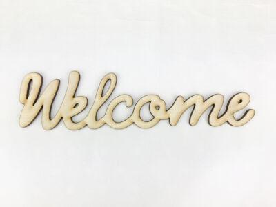 """Natúr fa - """"Welcome"""" írott felirat koszorúra 5x20cm"""