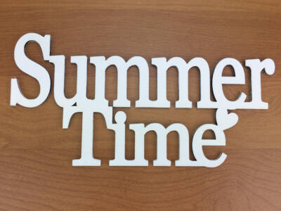 """Fa - """"Summer Time"""" felirat koszorúra fehér 10x20cm"""