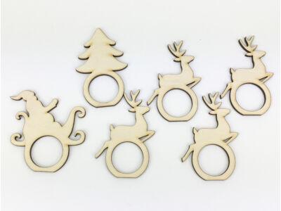 Natúr fa - Karácsonyi szalvéta gyűrű szett