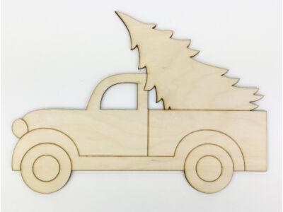 Natúr fa - Autó fenyővel koszorúra kicsi