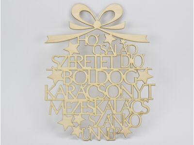 Natúr fa - Karácsonyi gömb szavakból 37cm