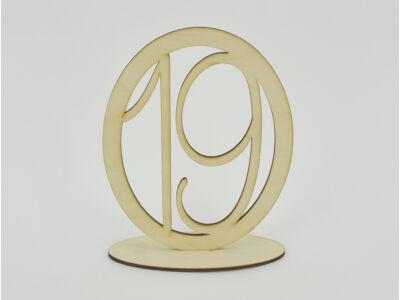 Natúr fa - Asztalszám ovális keretben 19-es 15,5cm