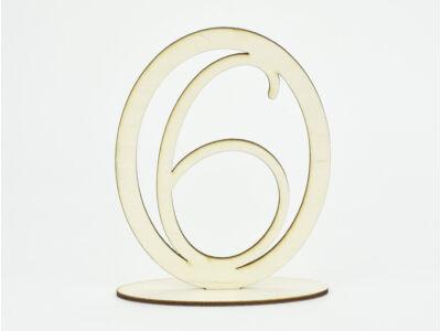 Natúr fa - Asztalszám ovális keretben 6-os 15,5cm