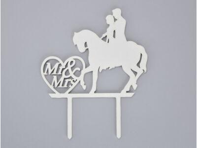 Fa - Tortadísz lovas esküvő fehér