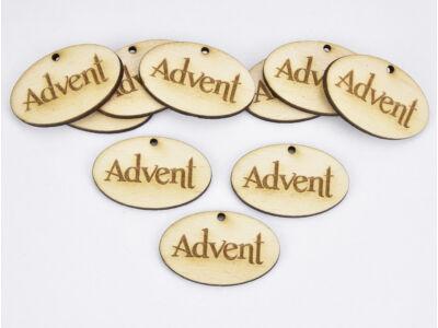 """Natúr fa -""""Advent"""" ovál gravírozott tábla 2,5x4cm 10db/csomag"""
