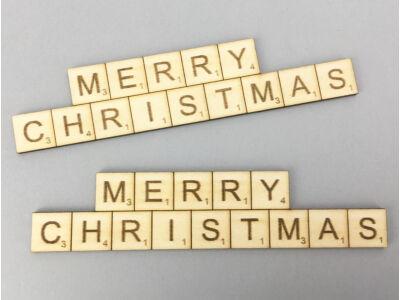 "Natúr fa - ""MERRY CHRISTMAS"" scrabble tábla 3x13,8cm 2db/csomag"