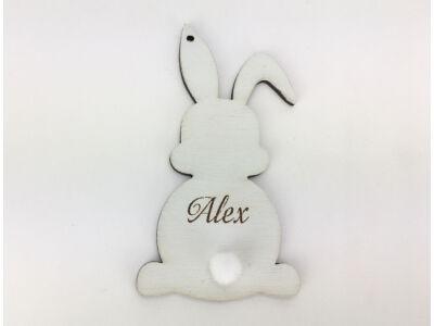 Húsvéti nyuszi egyedi gravírral világoskék 8,4x4,6 cm