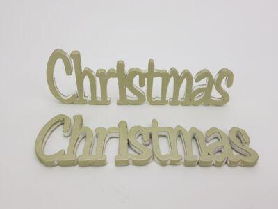 Christmas felirat metál zöldarany 15cm 2db/csomag