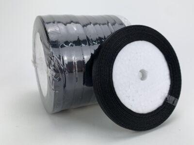 Fekete szatén szalag 6mm 10 tekercs - OKOS ÁR!
