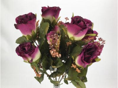Rózsabimbó csokor 9 ágú lila-krém