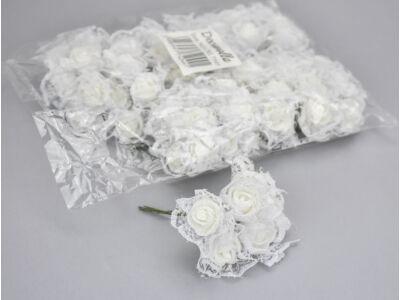 Csipkés rózsacsokor fehér 6 fejes csokor 12db - OKOS ÁR!