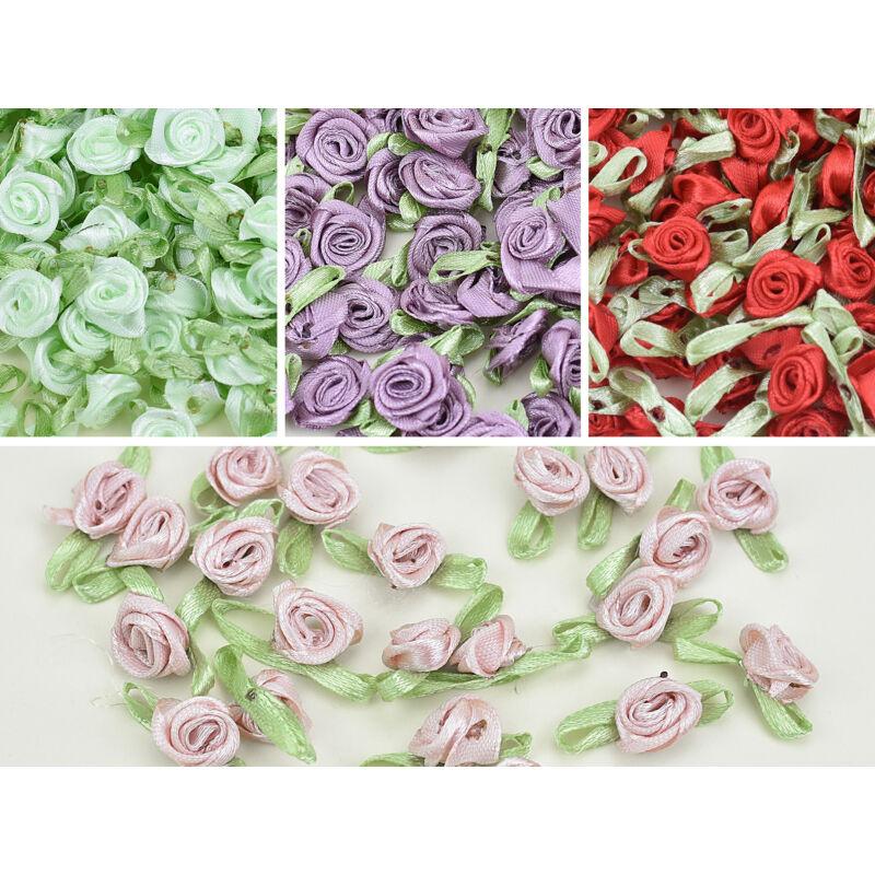 Színes szatén rózsafejek 950db/cs - OKOS ÁR!