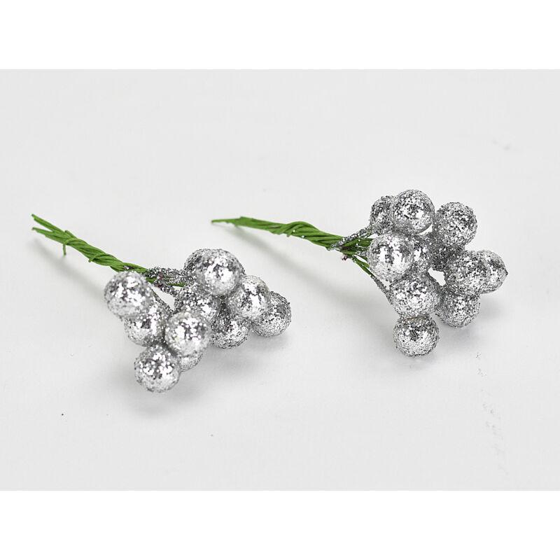 Csillámos drótos bogyó ezüst 24db/csomag