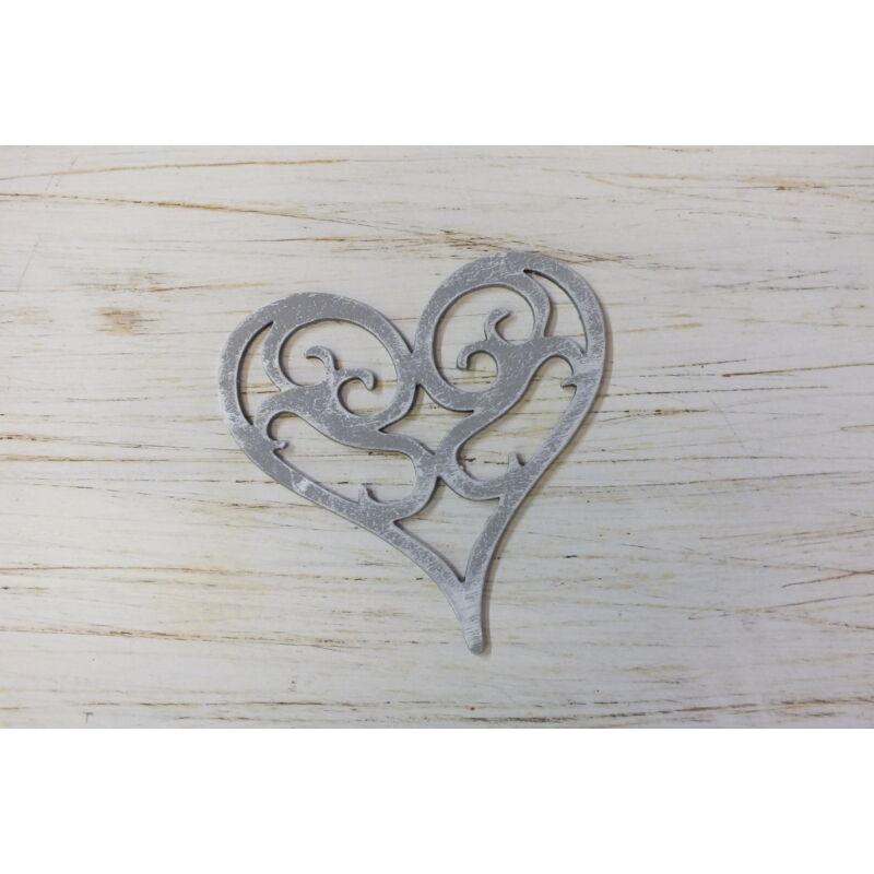 Vintage szív koptatott szürke 10cm