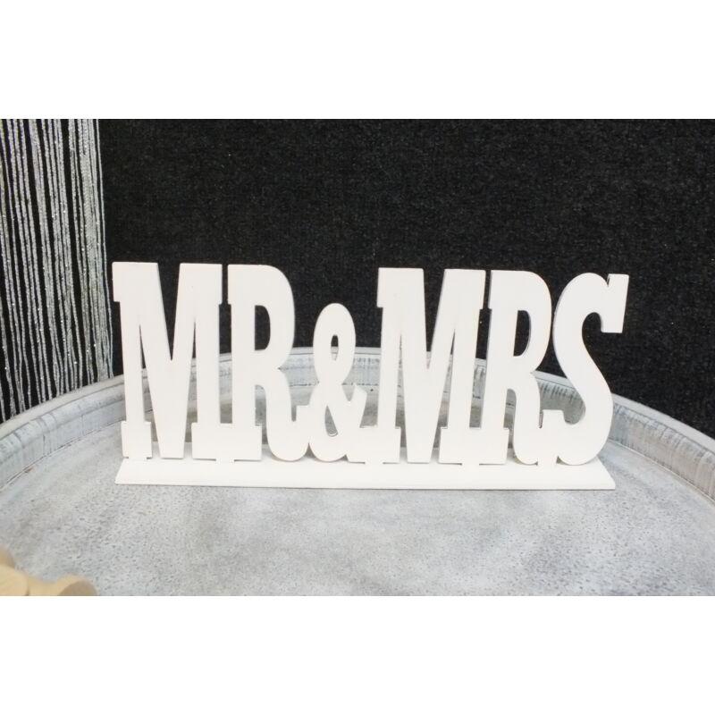 "Fa ""Mr & Mrs"" felirat talppal fehér 25cm"