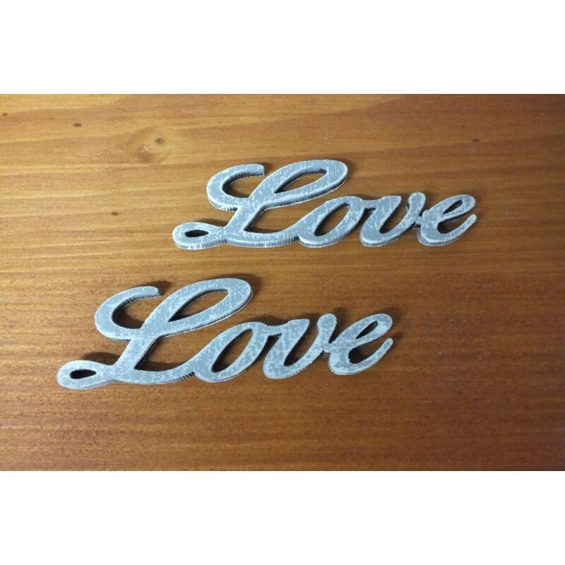 "Fa ""Love"" felirat szürke 8cm 2db/csomag"