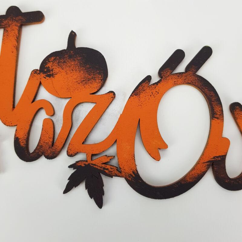 Natúr fa - Itt az ősz felirat koszorúra festett