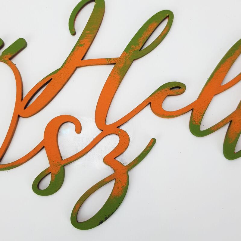 Natúr fa - Hello Ősz felirat 20cm festett