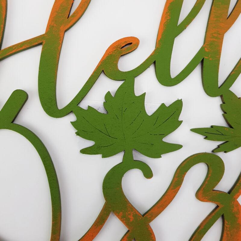 Natúr fa - Hello Ősz felirat díszes 20cm festett