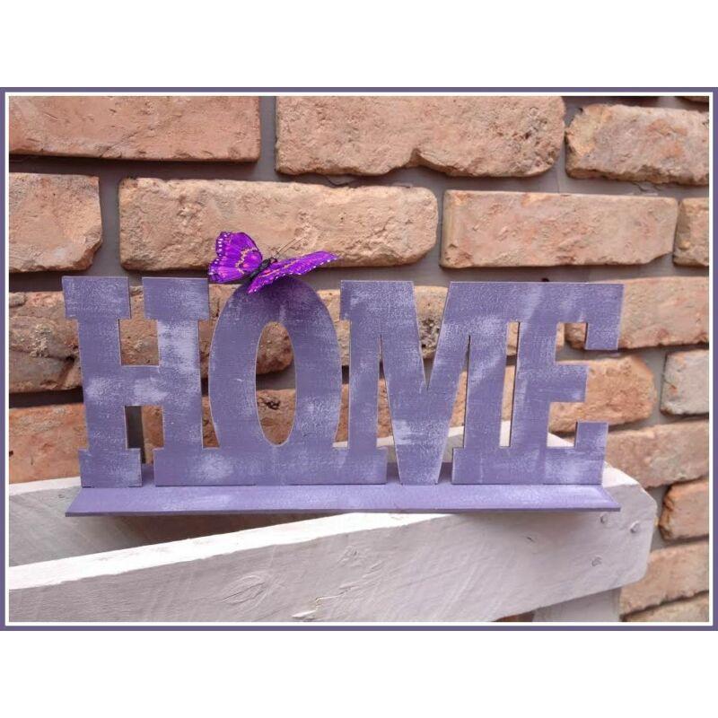 """Fa """"HOME"""" tábla talppal  fehér 15x37cm"""