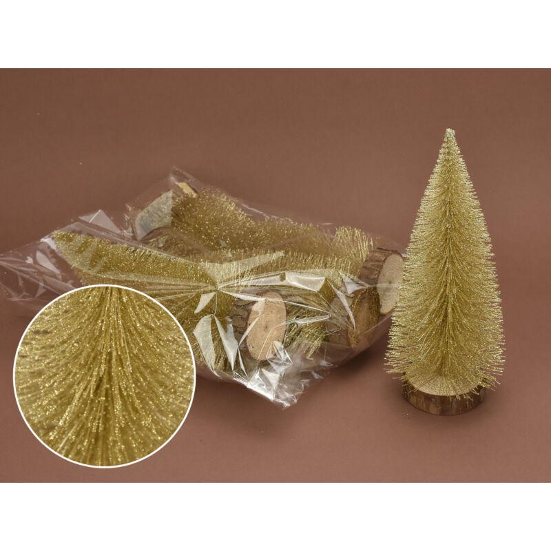 Arany csillámos dekor fenyők 20cm 5db/csomag