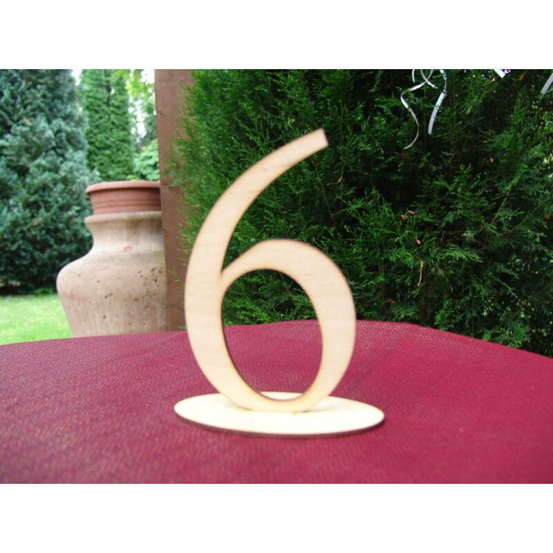 Natúr fa - Asztalszám 6-os 15cm
