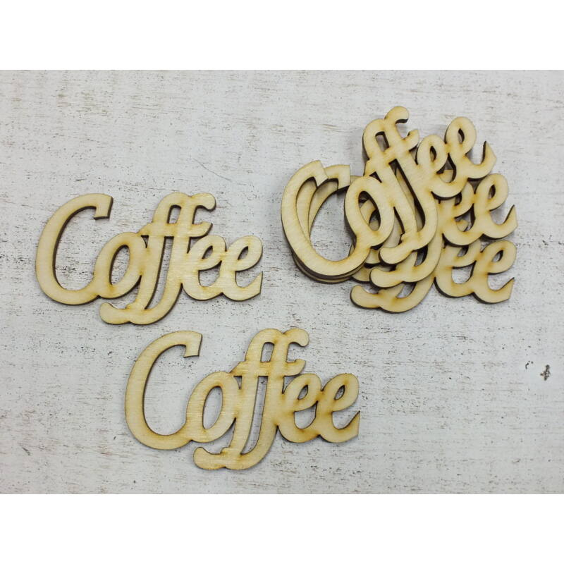 """Natúr fa - """"Coffee"""" felirat 9cm"""