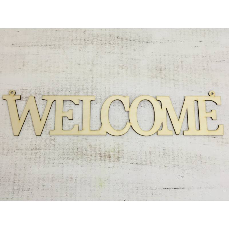 """Natúr fa - """"Welcome"""" felirat 50cm"""