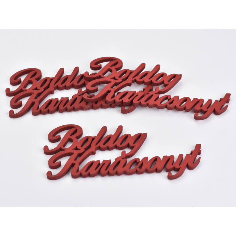 Boldog karácsonyt felirat piros 15cm 3db/cs