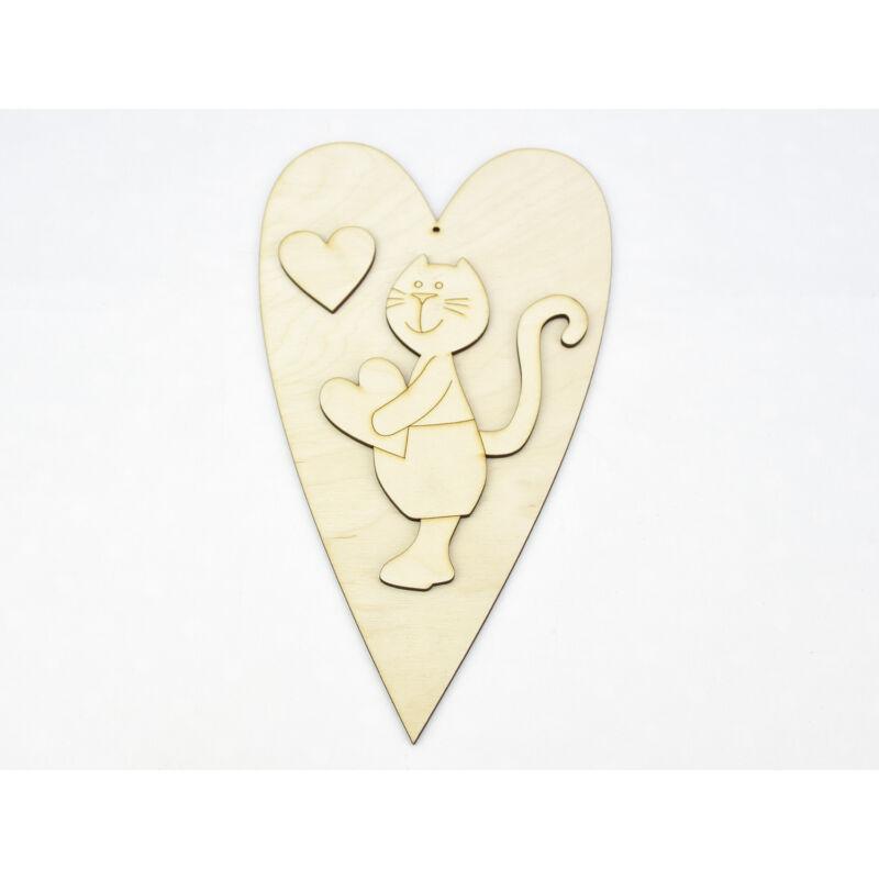 Natúr fa - Cicafiú + szív 25cm