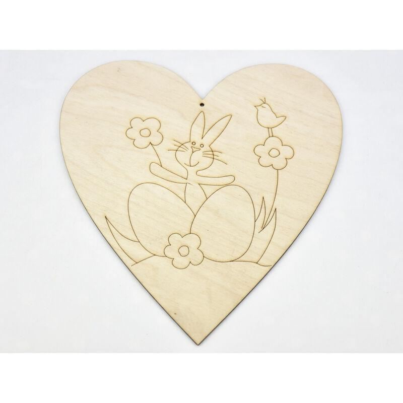 Natúr fa - Nyuszi a szívben kifestő 20cm
