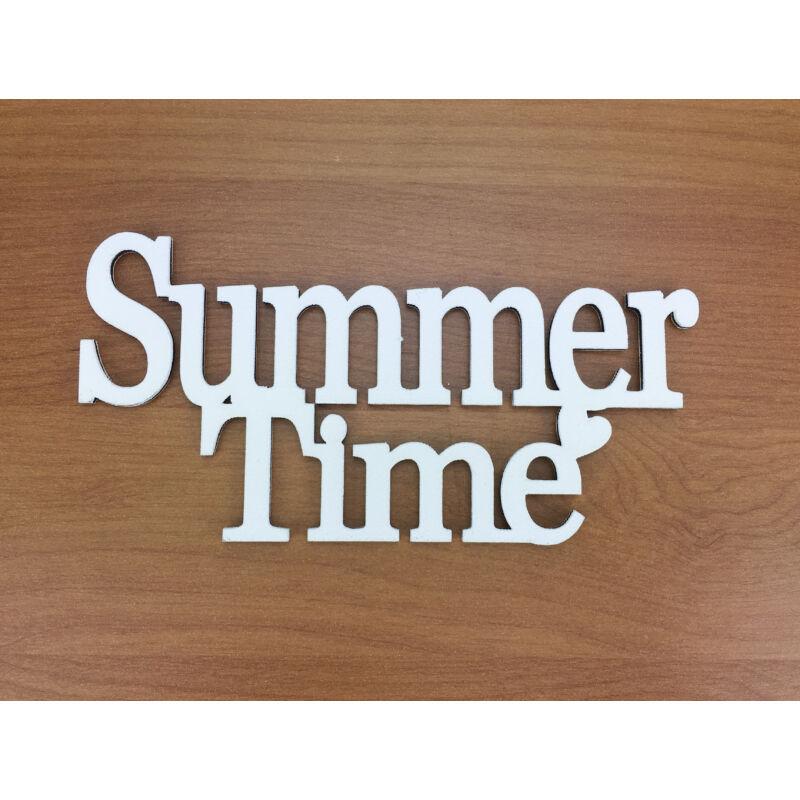 """Fa - """"Summer Time"""" felirat koszorúra fehér 7x14cm"""