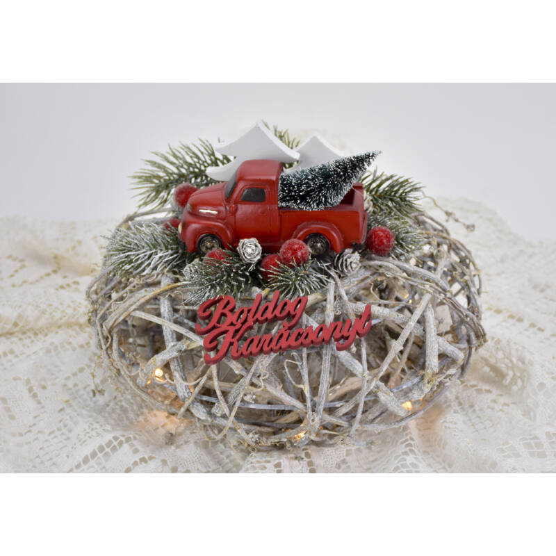 Boldog karácsonyt felirat piros 10cm 6db/csomag