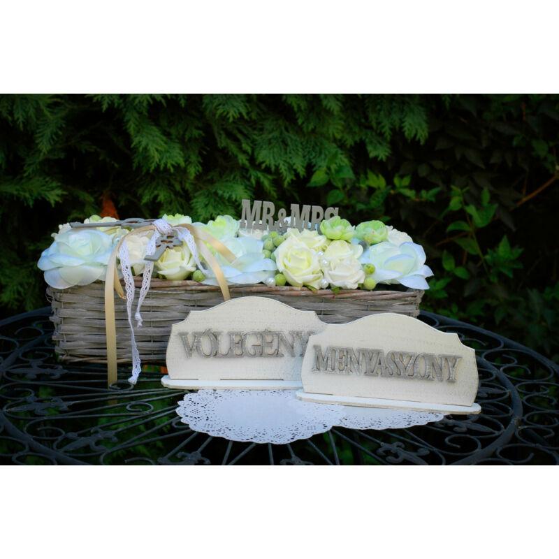"""Natúr fa - """"Menyasszony Vőlegény"""" felirat szett"""